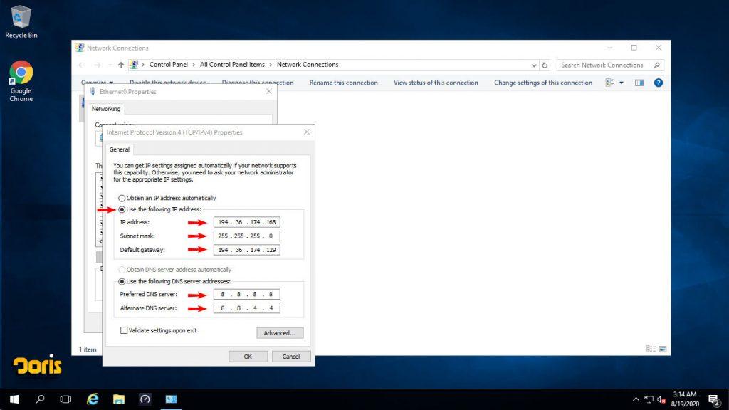 تنظیم IP استاتیک در ویندوز سرور 2016